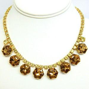 vintage brown crystal hexagon rhinestone necklace